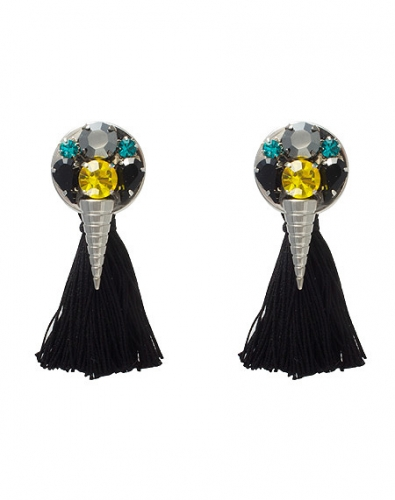 Crystal Cone Button TAssel Earring