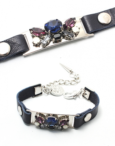 Crystal Leather Bracelet_Navy