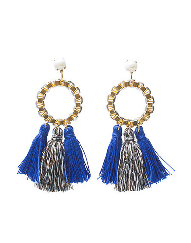 Ring tassel earring_BL