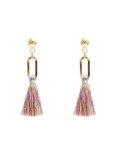 Mix tassel gold earring
