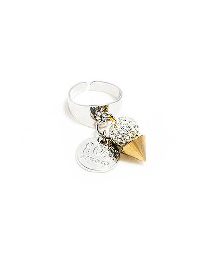 Crystal ball stud ring
