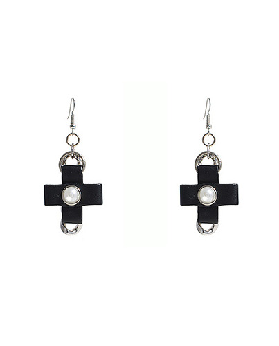 Leather Cross Pendant Chain Earring