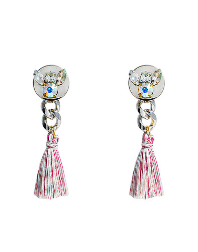 Pink mix tassel Crystal earring