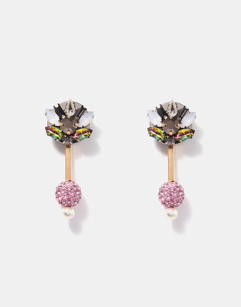 Haley Crsytal Ball Drop earring