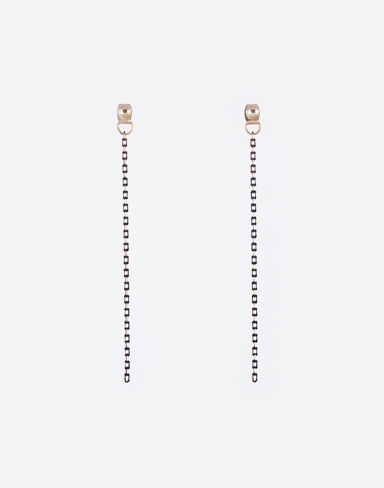 Black gold chain drop earring