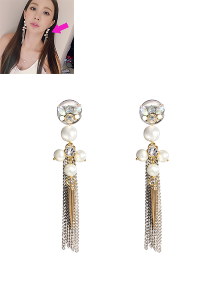 Crystal Emblished Pearl Long Chain Tassel Earring