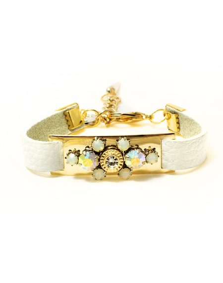 opal crystal emblished leather bracelet_white