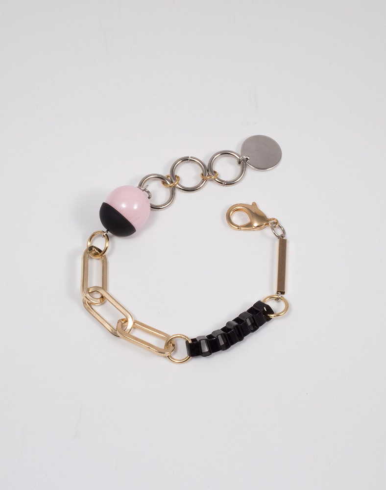 Paris Pink Ball Mix Chain bracelet