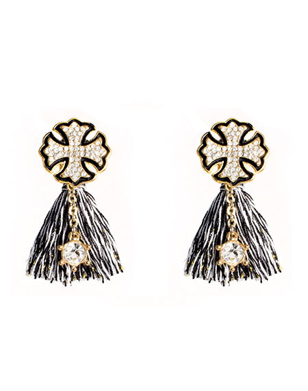 Cross crystal tassel ear