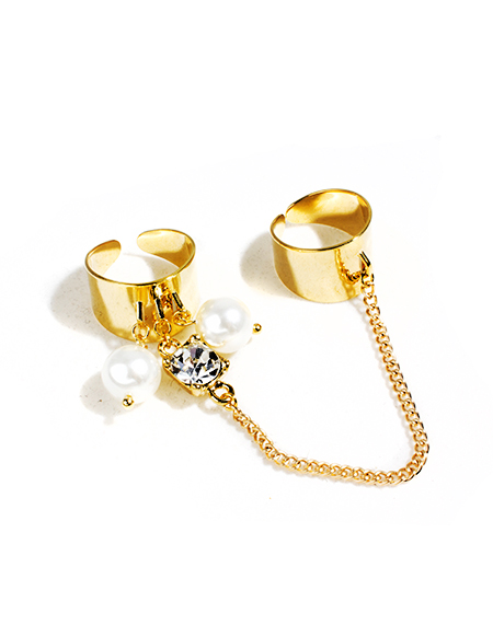 crystal pearl  double chain ring_gold