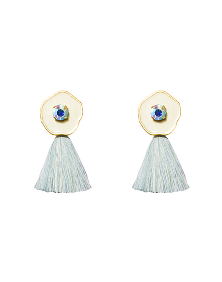 opal crystal mint tassel earring_white