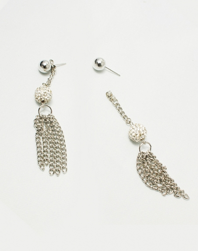 Crystal Ball Chain Tassel Earring