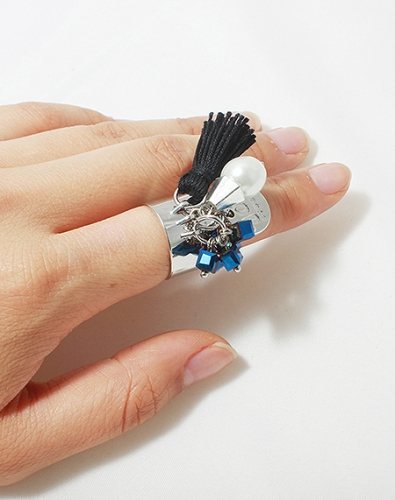 Blue Beads Tassel Charm Ring