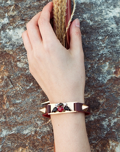Crystal Leather Bracelet_Burgundy