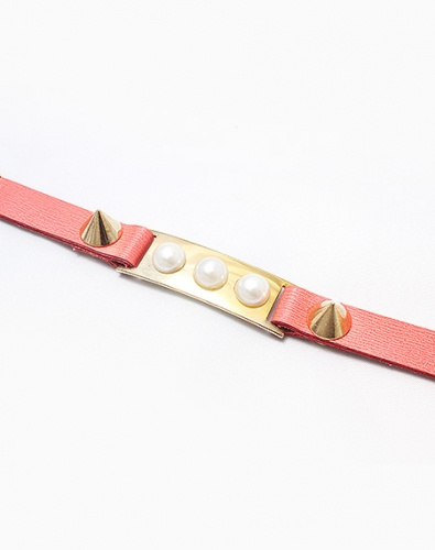 Triple Pearl Leather Bracelet_Pink