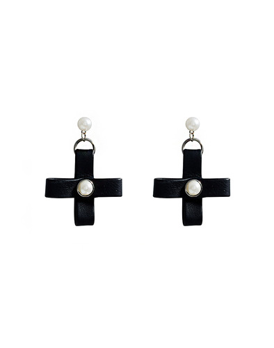 Pearl Leather cross drop earring
