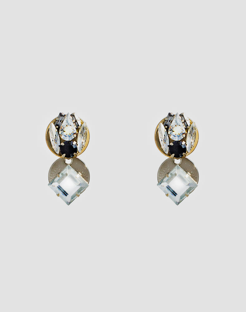 Square crystal drop earring