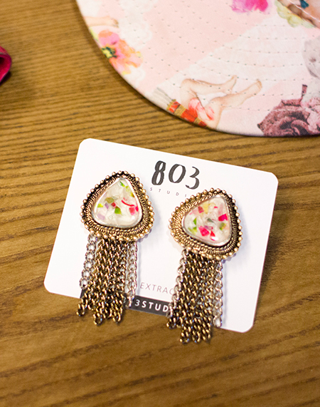 antique triangle tassel earring