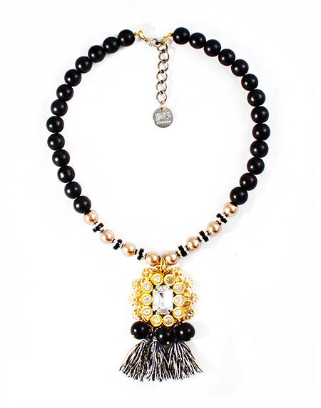Classy Black_antique gold tassel necklace