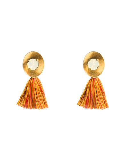 Crystal emblished tassel earring_authumn