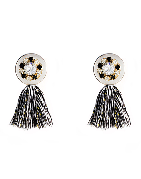 flower button tassel earring