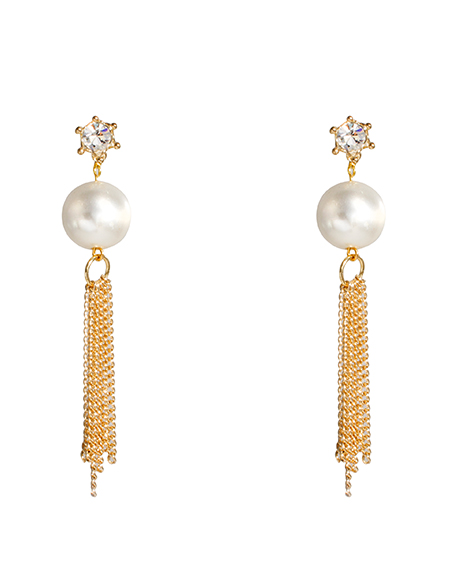crystal pearl chain tassel drop ear