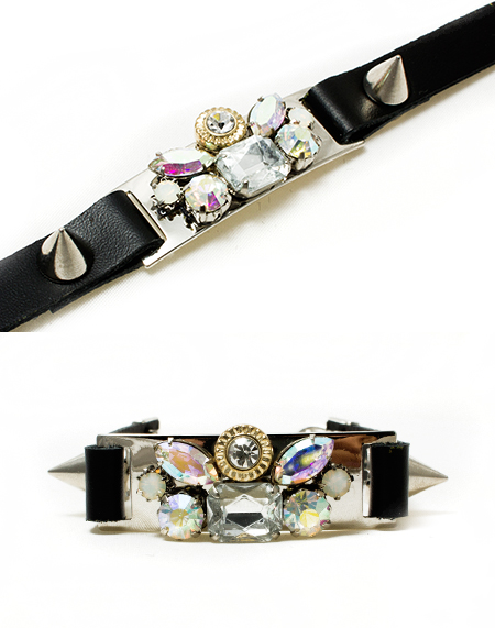 opal crystal emblished stud leather bracelet