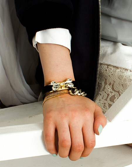 crystal bow leather bracelet_gold