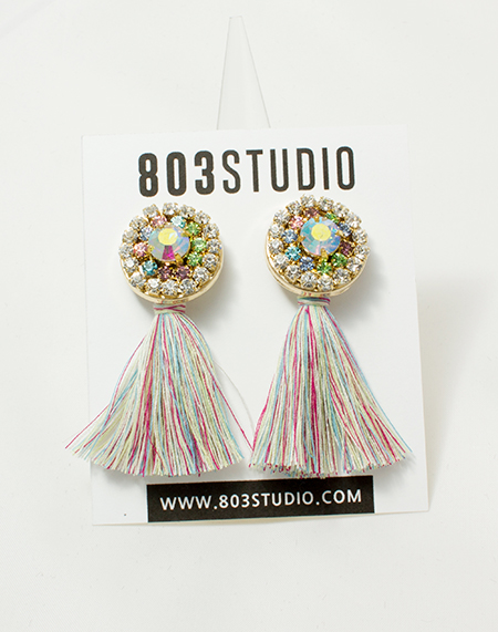 cotton candy mix crystal emblished earring