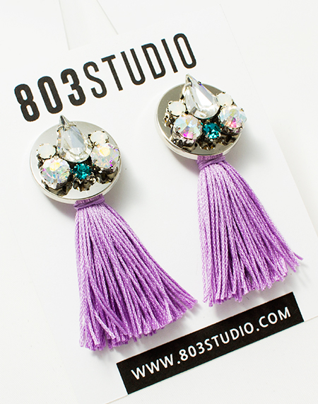 crystal emblished lailac tassel earring